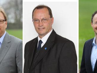 Die Kandidaten der FDP des Kreis Heinsberg für die Bundes- und Landtagswahl: Dr. Klaus Wagner, Jorge Klapproth und Stefan Lenzen v.l.n.r.